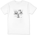 A man in an office cubicle holds a chair behind his head, about to slam it - New Yorker Cartoon T-shirts by Tom Cheney