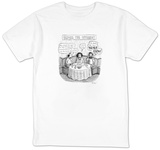Three late-middle aged people sitting around a table at a restaurant talki - New Yorker Cartoon Shirt by Roz Chast