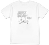 Woman quoting to man. - New Yorker Cartoon T-shirts by Charles Barsotti
