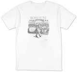 A man is seen walking down the sidewalk with word bubbles around him decla - New Yorker Cartoon T-shirts by Roz Chast