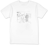 Man at doctor, Doctor is wearing suit with advertising on it. - New Yorker Cartoon T-shirts by Paul Noth