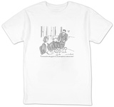 """""""I recommend the white and the redyour fish might have swallowed a duck."""" - New Yorker Cartoon T-Shirt by Michael Crawford"""