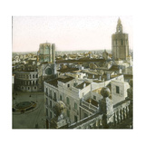 Valencia (Spain), Overview with the Cathedral, Virgin's Square and its Circular Pond Photographic Print by Levy et Fils, Leon