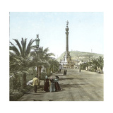 Barcelona (Spain), Monument to Christopher Columbus Photographic Print by Levy et Fils, Leon