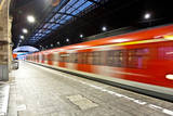 Train Im Motion Enters the Station Photographic Print by Jorg Hackemann