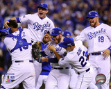 The Kansas City Royals celebrate winning Game 3 of the 2014 American League Division Series Photo