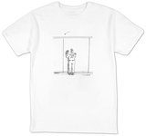 A baseball player watches a ball fly over a wall.  The back of his team je - New Yorker Cartoon Shirt by Michael Crawford
