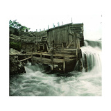 Hougshund (Norway), Hellefos's Waterfall, Installation for Catching Salmons Photographic Print by Levy et Fils, Leon