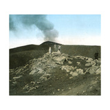 Italy, Vesuvius, Lave and Crater Photographic Print by Levy et Fils, Leon