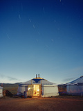 Yurt under a Starry Sky in Mongolia Photographic Print by Andrew Rowat
