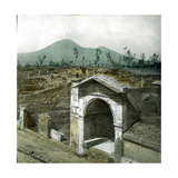 Pompeii (Italy), Alley of Graves, the Vesuvius in the Background Photographic Print by Levy et Fils, Leon