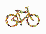 A Bicycle Shaped out of Fruits Photographic Print by Luxx Images