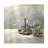 Brienz (Switzerland), Boat Alongside the Lake's Pier, Circa 1865 Photographic Print by Levy et Fils, Leon