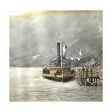 Brienz (Switzerland), Boat Alongside the Lake's Pier, Circa 1865 Photographic Print by Levy et Fils, Leon
