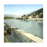 Lenno (Italy), the Village Seen from Lake Como, Circa 1890 Photographic Print by Levy et Fils, Leon