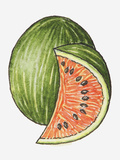 Illustration of a Slice of Watermelon and a Whole Watermelon Photographic Print by Dorling Kindersley