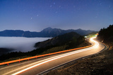 Car Light Trails and Star Trails Photographic Print by  samyaoo