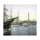 Barcelona (Spain), the Monument to Christopher Columbus and the Port Photographic Print by Levy et Fils, Leon