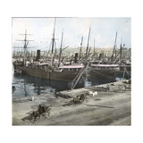 Alicante (Spain), Boats Anchored in the Port, Circa 1885-1890 Photographic Print by Levy et Fils, Leon