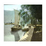 Sailboat and Steamboat on Lake Lugano, Circa 1890 Photographic Print by Levy et Fils, Leon
