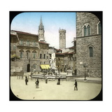 The Piazza Della Signoria and the Neptune Fountain, Florence (Italy), Circa 1895 Photographic Print by Levy et Fils, Leon