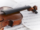 Close up of Violin and Sheet Music Photographic Print by Adam Gault