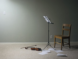 Empty Room with Chair, Violin and Sheet Music on Floor Photographic Print by Jan Stromme