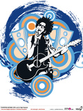 Pop Star Playing Guitar Photographic Print by Eastnine Inc.
