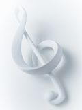 Close up of Treble Clef Musical Note on White Background Photographic Print by Adam Gault
