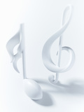 Close up of Semiquaver and Treble Clef Musical Notes on White Background Photographic Print by Adam Gault