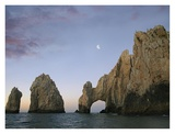 Moon over El Arco, Cabo San Lucas, Mexico Print by Tim Fitzharris
