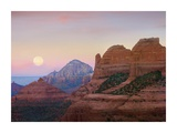 Moon setting as seen from Shelby Hill, Sedona, Arizona Print by Tim Fitzharris