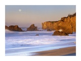 Seastacks and full moon at El Matador Beach, California Art by Tim Fitzharris