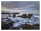 Surf hitting rocky coastline, Pelada Beach, Costa Rica Print by Tim Fitzharris