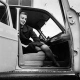 Anna Maria Ferrero on Board an Alfa Romeo Giulietta Photographic Print by Mario de Biasi