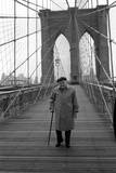 Giuseppe Ungaretti Walking on the Walkway of the Brooklyn Bridge Photographic Print by Mario de Biasi