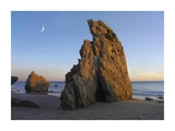 Crescent moon over El Matador Beach, Malibu, California Prints by Tim Fitzharris