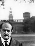 Salvatore Quasimodo in Front of the Sforza Castle in Milan Photographic Print by Mario de Biasi