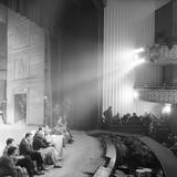 The Actors, the Director and the Producer of 'Un Marziano a Roma' are Sitting Together on the Stage Reproduction photographique par Mario de Biasi