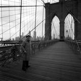 Giuseppe Ungaretti on the Brooklyn Bridge in Front of Manhattan Skyline Photographic Print by Mario de Biasi