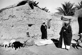 Iraqi Men and Goats in Front of a House Made of Mud Photographic Print by Mario de Biasi