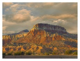 Sandstone butte showing sedimentary rock layers, New Mexico Art by Tim Fitzharris