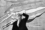 Gino Bramieri in Front of a Mural Painting Photographic Print by Mario de Biasi