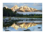 Pond reflecting Grand Tetons, Grand Teton National Park, Wyoming Posters by Tim Fitzharris