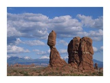Balanced rock under cloudy skies, Arches National Park, Utah Prints by Tim Fitzharris