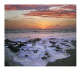 Coast at sunset, Blowing Rocks Beach, Jupiter Island, Florida Print by Tim Fitzharris
