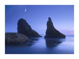 Sea stacks at dusk along Bandon Beach with rising moon, Oregon Poster by Tim Fitzharris