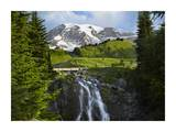Myrtle Falls and Mount Rainier, Mount Rainier National Park, Washington Posters by Tim Fitzharris