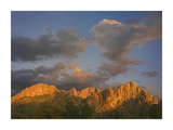 Sunlight illuminating Chisos Mountains, Chihuahuan Desert, Texas Prints by Tim Fitzharris