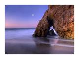 Sea arch and full moon over El Matador State Beach, Malibu, California Prints by Tim Fitzharris